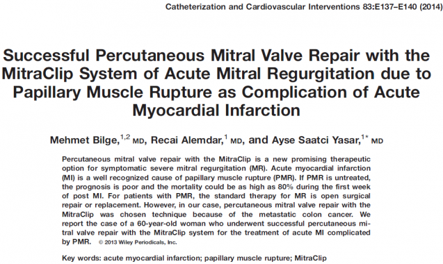 Successful Percutaneous Mitral Valve Repair with the MitraClip System of Acute Mitral Regurgitation due to Papillary Muscle Rupture as Complication of Acute Myocardial Infarction